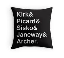Star Trek Captains Helvetica Name List Throw Pillow