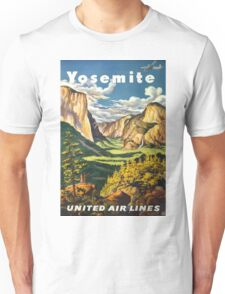 Yosemite United Air Lines Vintage Travel Poster Unisex T-Shirt
