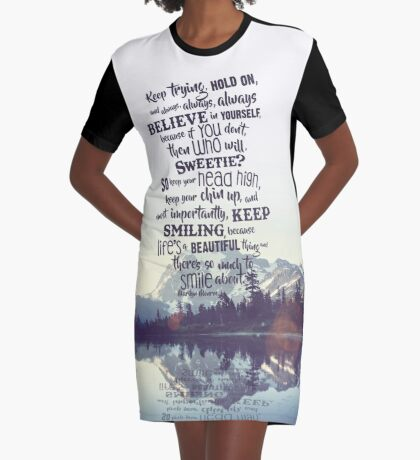 Keep Trying/Mountains Graphic T-Shirt Dress
