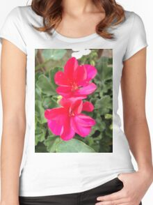 Beautiful red flowers Women's Fitted Scoop T-Shirt