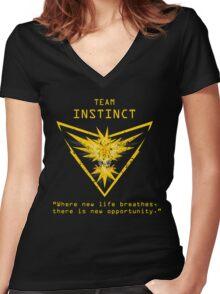 Pokemon GO Team Instinct Inspired Women's Fitted V-Neck T-Shirt