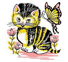 pet cat flowers and butterflies Photographic Print