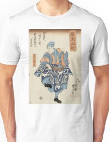 Utagawa Kuniyoshi - Actor Portraying A Seller Of Birds For Release 1850. Man portrait:  actor ,  mask,  face,  man ,  samurai ,  hero,  costume,  kimono,  tattoos,  theater,  shows Unisex T-Shirt