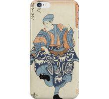 Utagawa Kuniyoshi - Actor Portraying A Seller Of Birds For Release 1850. Man portrait:  actor ,  mask,  face,  man ,  samurai ,  hero,  costume,  kimono,  tattoos,  theater,  shows iPhone Case/Skin