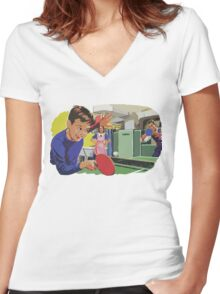 Ping Pong Championship Women's Fitted V-Neck T-Shirt