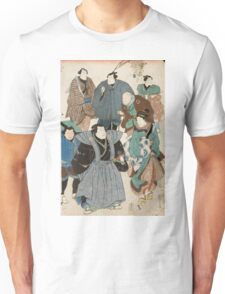 Utagawa Kuniyoshi - Actors Portraits Disguised As A Street Crowd. Man portrait:  actor ,  mask,  face,  man ,  samurai ,  hero,  costume,  kimono,  tattoos,  theater,  shows Unisex T-Shirt