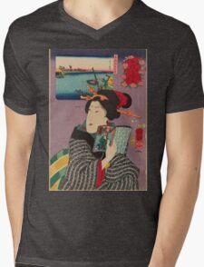 Utagawa Kuniyoshi - Landscapes And Beauties Feeling Like Reading The Next Volume. Woman portrait: sensual woman, geisha, kimono, courtesan, silk, beautiful dress, umbrella, wig, lady, exotic, beauty Mens V-Neck T-Shirt
