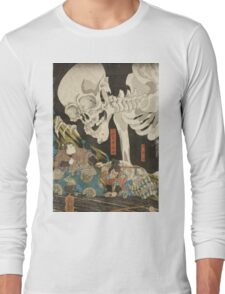 Utagawa Kuniyoshi - Mitsukuni And The Skeleton Spectermid 1840. Man portrait:  mask,  face,  man ,  samurai ,  hero,  costume,  kimono,  tattoos ,  sport, skeleton, macho Long Sleeve T-Shirt