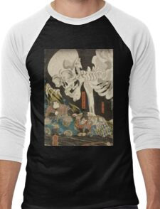 Utagawa Kuniyoshi - Mitsukuni And The Skeleton Spectermid 1840. Man portrait:  mask,  face,  man ,  samurai ,  hero,  costume,  kimono,  tattoos ,  sport, skeleton, macho Men's Baseball ¾ T-Shirt