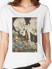 Utagawa Kuniyoshi - Mitsukuni And The Skeleton Spectermid 1840. Man portrait:  mask,  face,  man ,  samurai ,  hero,  costume,  kimono,  tattoos ,  sport, skeleton, macho Women's Relaxed Fit T-Shirt