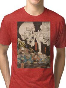 Utagawa Kuniyoshi - Mitsukuni And The Skeleton Spectermid 1840. Man portrait:  mask,  face,  man ,  samurai ,  hero,  costume,  kimono,  tattoos ,  sport, skeleton, macho Tri-blend T-Shirt