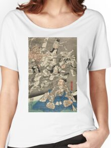 Utagawa Kuniyoshi - Warrior Minamoto Raiko And The Earth Spider. People portrait: party, woman and man, people, family, female and male, peasants, crowd, romance, women and men, city,  society Women's Relaxed Fit T-Shirt
