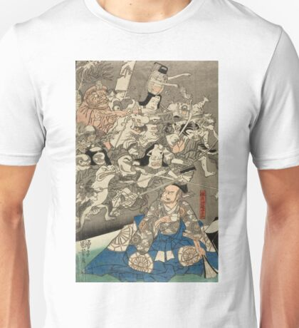 Utagawa Kuniyoshi - Warrior Minamoto Raiko And The Earth Spider. People portrait: party, woman and man, people, family, female and male, peasants, crowd, romance, women and men, city,  society Unisex T-Shirt