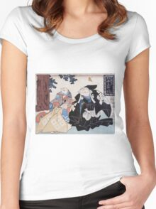 Utagawa Yoshifuji - Toads  Parody Of Kabuki 1852. Dog painting: cute dog, dogs, doggy, lucky, pets, wild life, animal, smile, little small, kids, nature Women's Fitted Scoop T-Shirt