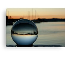 Crystal ball with sunset and boats Canvas Print
