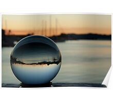 Crystal ball with sunset and boats Poster