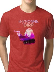 Wynonna Earp and Her Big Ass Gun. (Pink/Purple) Tri-blend T-Shirt