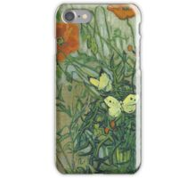 Vincent Van Gogh - Butterflies And Poppies. Still life with flowers: flowers, blossom, nature, botanical, floral flora, wonderful flower, plants, cute plant for kitchen interior, garden, vase iPhone Case/Skin