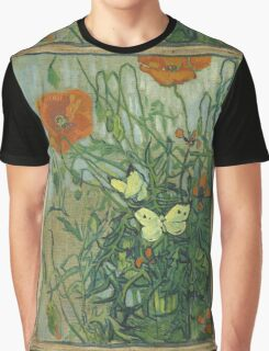 Vincent Van Gogh - Butterflies And Poppies. Still life with flowers: flowers, blossom, nature, botanical, floral flora, wonderful flower, plants, cute plant for kitchen interior, garden, vase Graphic T-Shirt