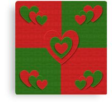 red and green heart pattern Canvas Print