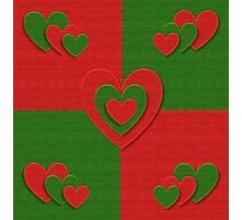 red and green heart pattern Photographic Print