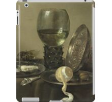 Willem Claesz Heda - Still Life With Oysters, A Rummer, A Lemon And A Silver Bowl . Still life with fruits and vegetables: Lemon, glass of wine, tasty, gastronomy food, flowers, dish, cooking, kitchen iPad Case/Skin
