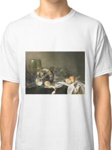 Willem Claesz Heda - Still-Life . Still life with fruits and vegetables: fruit, vegetable, glass of wine, tasty, gastronomy food, flowers, dish, cooking, kitchen, vase Classic T-Shirt