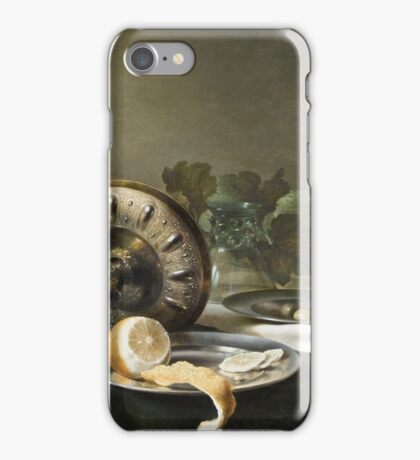 Willem Claesz Heda - Still-Life . Still life with fruits and vegetables: fruit, vegetable, glass of wine, tasty, gastronomy food, flowers, dish, cooking, kitchen, vase iPhone Case/Skin