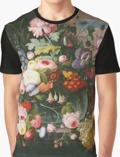 Severin Roesen - Still Life Of Flowers And Fruit With A River Landscape In The Distance. Still life with flowers: bouquet, bumblebee , carnations, peonies, roses, tulips, marigolds, garden, blossom Graphic T-Shirt