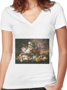 Severin Roesen - Still Life Of Flowers And Fruit With A River Landscape In The Distance. Still life with flowers: bouquet, bumblebee , carnations, peonies, roses, tulips, marigolds, garden, blossom Women's Fitted V-Neck T-Shirt