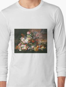 Severin Roesen - Still Life Of Flowers And Fruit With A River Landscape In The Distance. Still life with flowers: bouquet, bumblebee , carnations, peonies, roses, tulips, marigolds, garden, blossom Long Sleeve T-Shirt