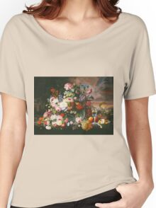 Severin Roesen - Still Life Of Flowers And Fruit With A River Landscape In The Distance. Still life with flowers: bouquet, bumblebee , carnations, peonies, roses, tulips, marigolds, garden, blossom Women's Relaxed Fit T-Shirt