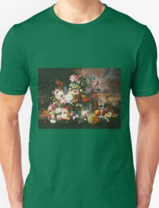 Severin Roesen - Still Life Of Flowers And Fruit With A River Landscape In The Distance. Still life with flowers: bouquet, bumblebee , carnations, peonies, roses, tulips, marigolds, garden, blossom Unisex T-Shirt