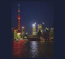 A view of the Pudong pearl tower and skyline at night; Changhai, China Kids Tee