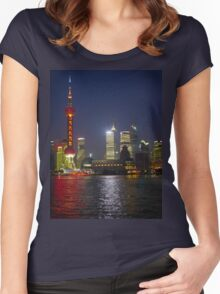 A view of the Pudong pearl tower and skyline at night; Changhai, China Women's Fitted Scoop T-Shirt