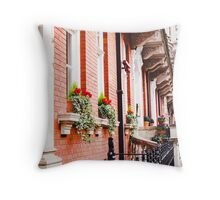 Flowers on the London sidewalk Throw Pillow