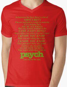 Psych Theme Text Mens V-Neck T-Shirt