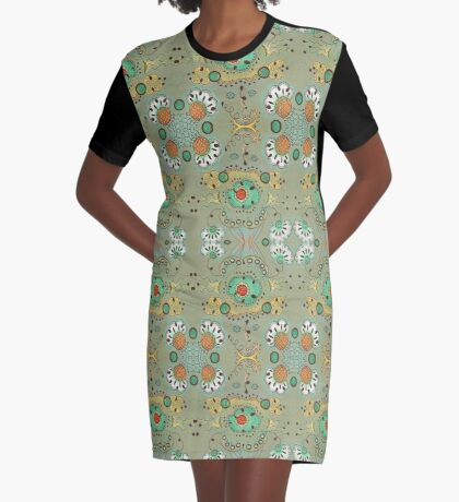 Flower in the Sky Pattern Graphic T-Shirt Dress