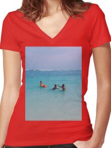 Summer Happines Women's Fitted V-Neck T-Shirt