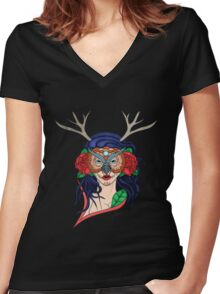 Owl Chick Women's Fitted V-Neck T-Shirt