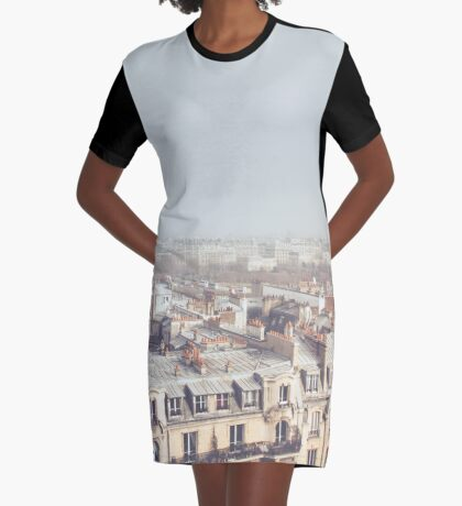 Paris Morning Rooftops Graphic T-Shirt Dress
