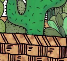 cacti  in wicker basket Sticker