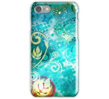 Grungel Floral on Green Background 2 iPhone Case/Skin