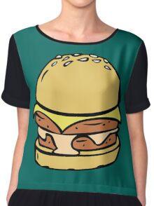 Double Decker Cheese Burger Chiffon Top
