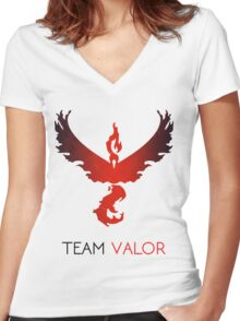 Pokemon GO! Team Valor Women's Fitted V-Neck T-Shirt
