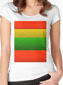 Stripes Red Yellow and Green Women's Fitted Scoop T-Shirt