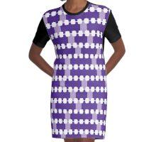 Purple Jigsaw Graphic T-Shirt Dress