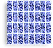 Blue and White Zebra Kaleidoscope Pattern Canvas Print