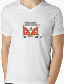 Volkswagen retro car, peace and love Mens V-Neck T-Shirt