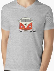 Volkswagen retro car, peace and love Mens V-Neck T-Shirt